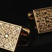 Embroidered Classic Cufflinks on Gold Face