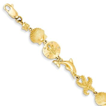 14k Yellow Gold Seashore Theme Bracelet