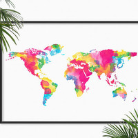 World Map Watercolor Art Print Pink Blue Atlas Map Painting Print World Map Home Decor art Map wall art Globe Atlas Map Geography Print Gift