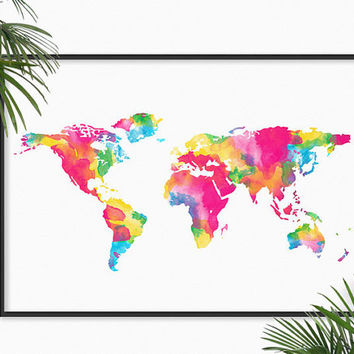 World Map Watercolor Art Print Pink Blue Atlas Map Painting Print World Map  Home Decor Art