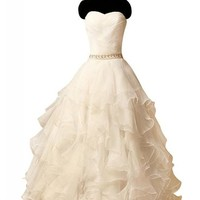 Mic Dresses Strapless Organza Princess Court Train Bridal Wedding Dress