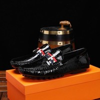Hermes Men's Leather Fashion Low Top Sneakers Shoes-KUYOU