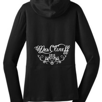 Monogrammed Bride Wedding Hoodie Jacket - Bride Personalized Full Zip Hoodie - Plus Size Bride - Small-4XL - Black Embroidered Bridal Jacket