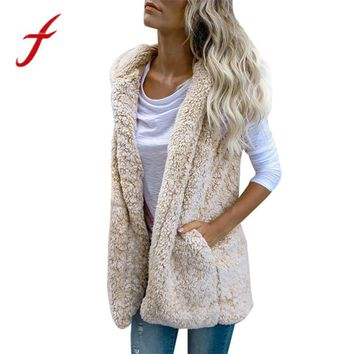Feitong  Womens Flannel Vest Winter Warm Hoodie Outwear Casual Coat Female Faux Fur Zip Up Sherpa Jacket chalecos para mujer New