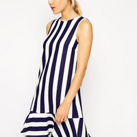 Blue Vertical Striped Ruffled Dress