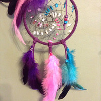 Dream catcher pink blue purple rooster feathers