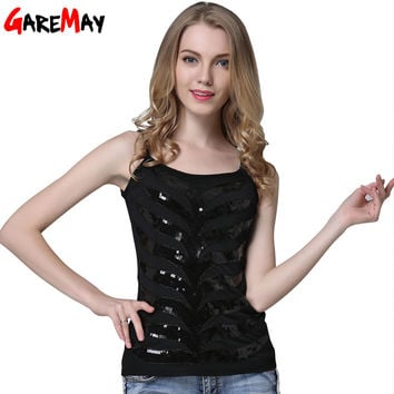 GAREMAY Halter Top Camisoles For Women  Black Sequin Top Strapless 2016 Women's Sexy Tops Fashion Camis Lace Tank Top 017