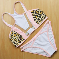 Lace Leopard Pink Neck Around  Bikini Set Swimsuit Swimwear Bathing Suit For Women 071901
