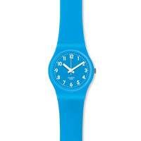 Swatch LS112 Women's Lady Cyan Light Blue Dial Light Blue Silicone Rubber Strap Watch