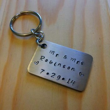 Hand Stamped Keychain Personalized Keychain Wedding Gift - Couples Name Mr. and Mrs Wedding Date
