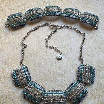 Monet Rhinestone Necklace and Bracelet set-Vintage