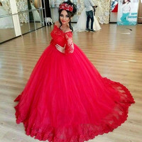 Gorgeous Red Wedding Dresses Long Sleeve Lace Ball Gown Bride Dress Romantic Sheer O Neck Tulle Bridal Gowns