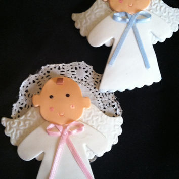 Baptism Cake Topper, Baptism Favor, Twin Baptism Favor, Christening Cake Topper, Angel  Favor, First Communion Favor, Baptism Cake Topper