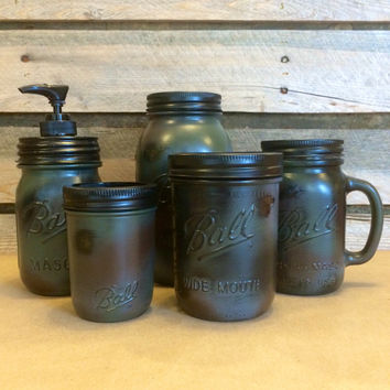 Mason Jar Bathroom Set, Green Camoflauge Mason jars, Mason Jar Desk Set, Camo Mason Jar Mug, Mens Bath Accessories, Mason Jar Soap Dispenser