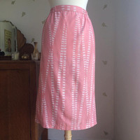 1980's Cotton Candy Pink Skirt ~ High Waist - Knee Length ~ 28 Waist ~ Vintage 80s