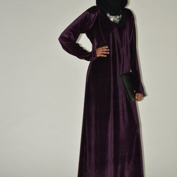 Gorgeously elegant velvet evening gown in Byzantium purple.