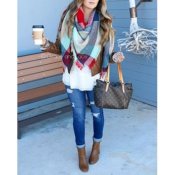 Grace & Lace Blanket Scarf/Toggle Poncho™ (Red/Mint Color Block)