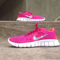 New In Box Women's Nike Free Run 5.0 Running Shoes [580565-600] Customized With Swarovski Elements Crystal Rhinestones Pink, Orange, White