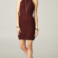 CUT OUT TURTLENECK KNIT DRESS - WINE