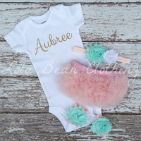 Baby Girl Take Home Outfit Newborn Baby Girl Custom Onesuit Bloomers Headband Sandals Set Pink Mint