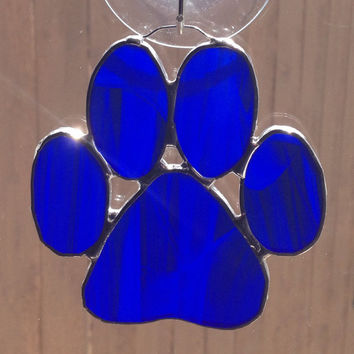 Dark Blue Stained Glass Paw Print Suncatcher