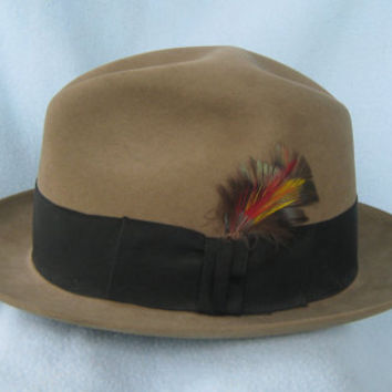 Gorgeous Vintage 1960s Bark Colored Stetson Fedora Hat - Size 7