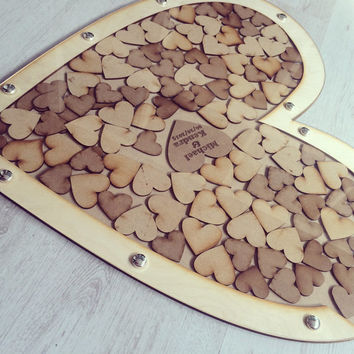 Wedding guestbook, drop box, wooden guestbook, wooden drop box, guest book, heart guestbook