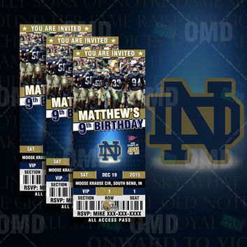 "Notre Dame Fighting Irish Sports Party Invitation, 2.5x6"" Sports Tickets Invites, Irish Football Birthday Theme Party Template"