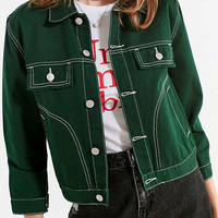 UNIF Woody Green Denim Jacket   Urban Outfitters