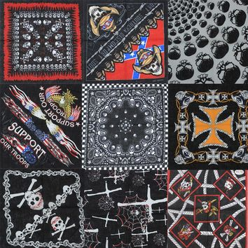 2017 New Fashion Hip Hop 100% Cotton Skull Bandana Square Scarf Black Paisley Bicycle Headband Printed For Women/Men/Boys/Girls