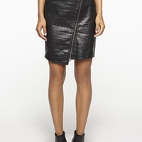 Crocodile Leather Miniskirt