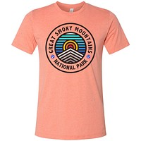 Adult Great Smoky Mountains on a Heather Sunset T-Shirt