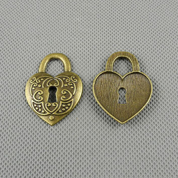 1x Making Jewellery Supply Supplies Clasp konvolut Jewelry Findings Charms Schmuckteile Charme 5-A21645 Heart-shaped Lock