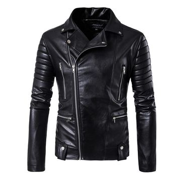 5XL puff sleeve business casual leather clothes New sale Fashion leather jacket Short  Men leather jacket Classic leather jacket