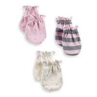 Sterling Baby Newborn Girl 3-Pack Mittens in Pink/Ivory