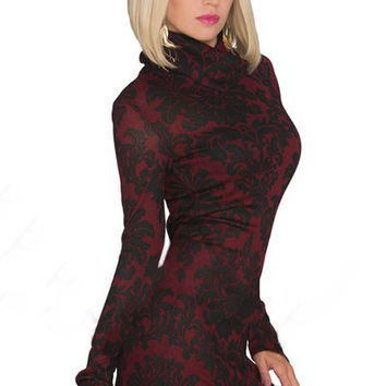 Red High Neckline Sleeved Mini Dress with Allover Black Floral Print