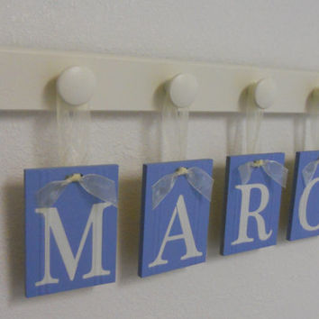 Nursery Wooden Wall Letters Painted Light Blue Name MARO with 4 Wood Pegs Linen White Personalized for Boys Room
