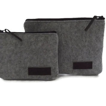 Felt Pouch- Felt Cluth with Zipper- Grey Felt- Set of Two