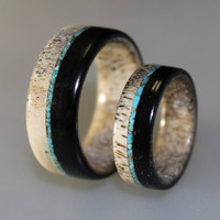 Wedding Band Set, Deer Antler Ring Set With Ebony Wood And Turquoise Bits