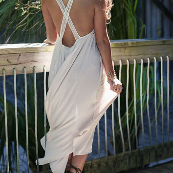 Angel Face Cream Maxi With Lace Neckline
