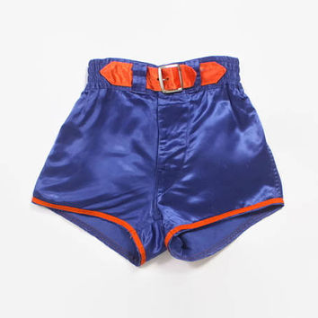 Vintage 50s BOXING TRUNKS / 1950s Bright Blue Satin Gym Phys Ed Basketball Shorts XS - S