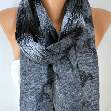 Gray& Black Cotton Unisex Scarf ,Winter Scarf Cowl Scarf Men Scarf Shawl Gift Ideas For Her For Him Women Fashion Accessories Christmas Gift