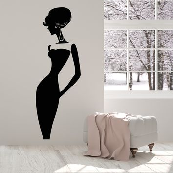 Vinyl Wall Decal Lady In Dress Mademoiselle Beauty Fashion Stickers (2409ig)