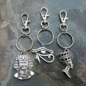 Africa Keychain, Egyptian keychain, keyring, King Tut/Pharaoh, Eye of Horus, Nefertiti bag charm, zipper pull African Ethnic accessories