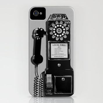 Retro Phone iPhone Case iPod Touch 5c 5s 4 4s 3g 3gs Hard Cover Fine Art Unique Gift Rotary Dial Replica black and white vintage look