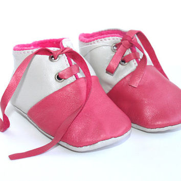 0-3 Months Slippers / Baby Shoes Lamb Leather pink gray