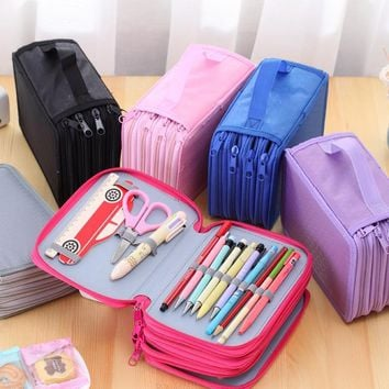 72 Holders 4 Layer Portable Oxford Canvas School Pencils Case Pouch Brush Pockets Bag Pencil Holder Case School Supplies