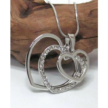 Triple Silver Cut Out Heart Pendant Necklace