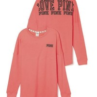Victoria's Secret PINK Varsity Crew Small Hot Coral Long Sleeve