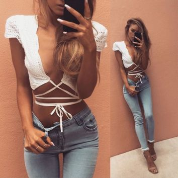 Hollow Crisscross Lace Strap Vest Tank Top Camisole